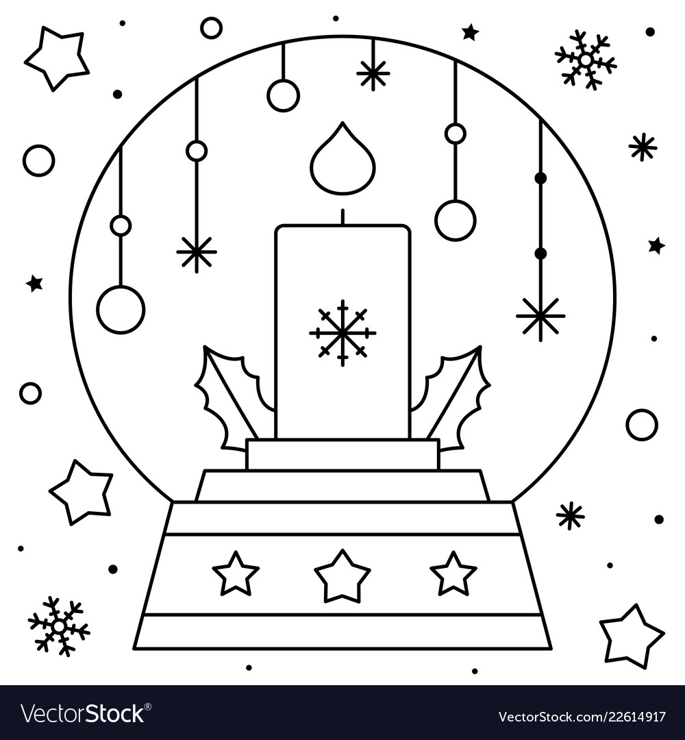 Snow Globe With A Candle Coloring Page Black And