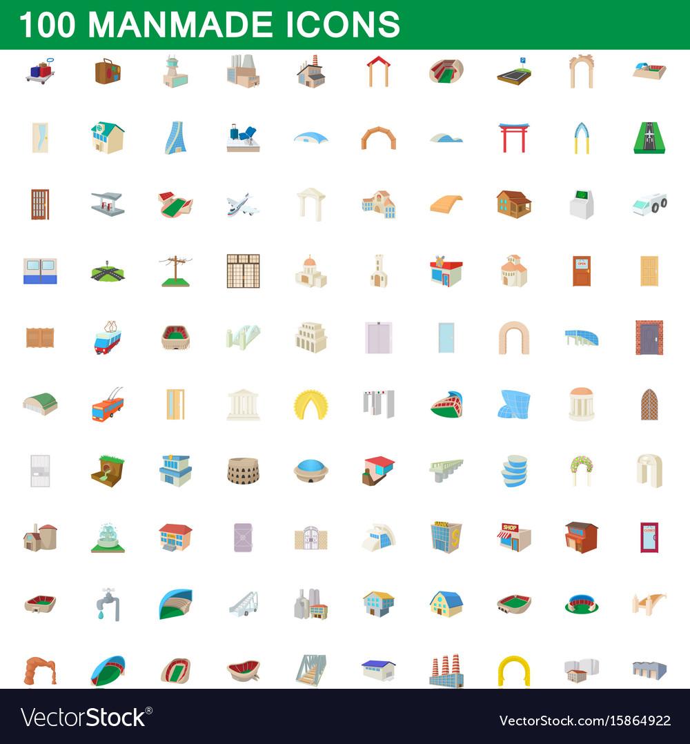 100 manmade icons set cartoon style