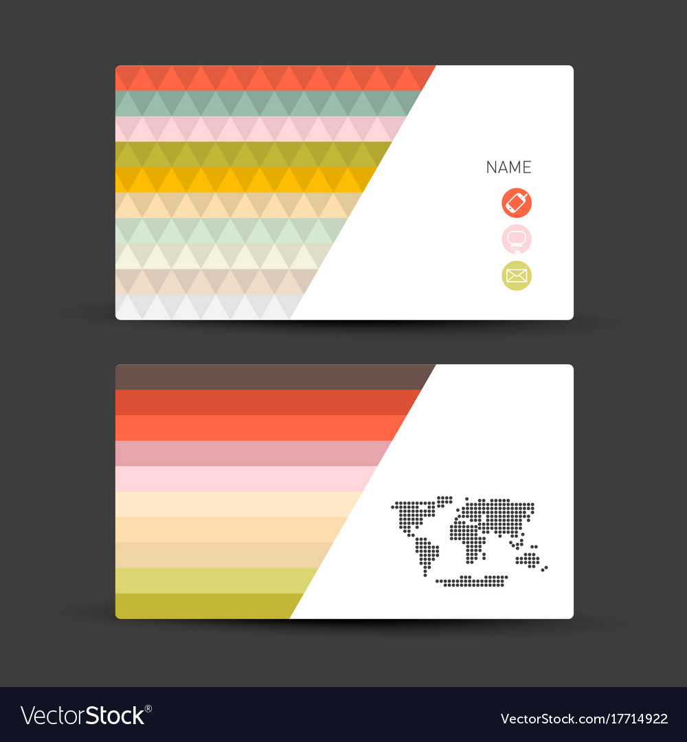 Business card set paper objects vector image