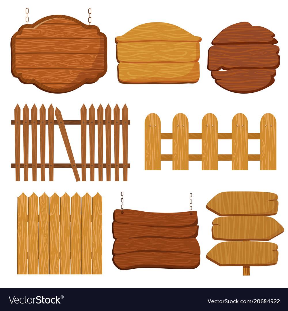 Cartoon wooden garden fence blank wood banners