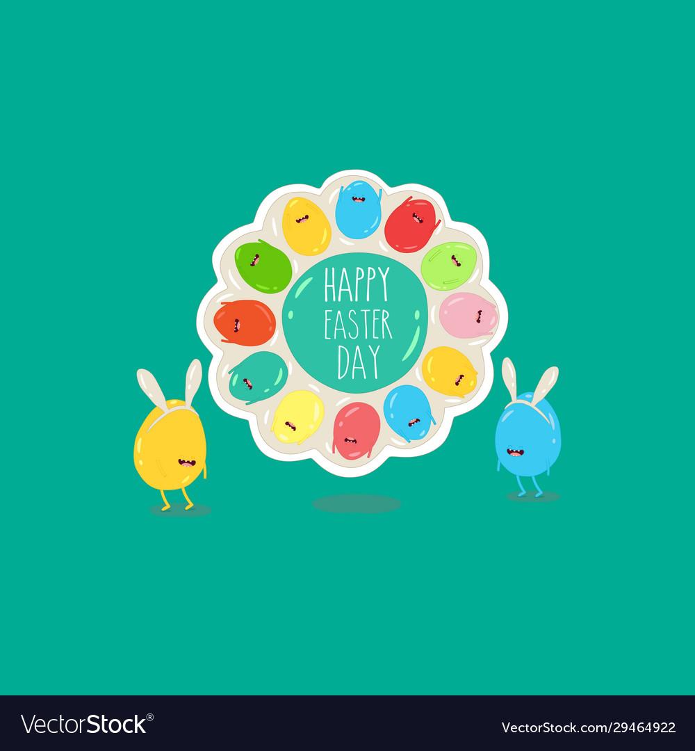 Easter eggs in rabbit ears on plate happy