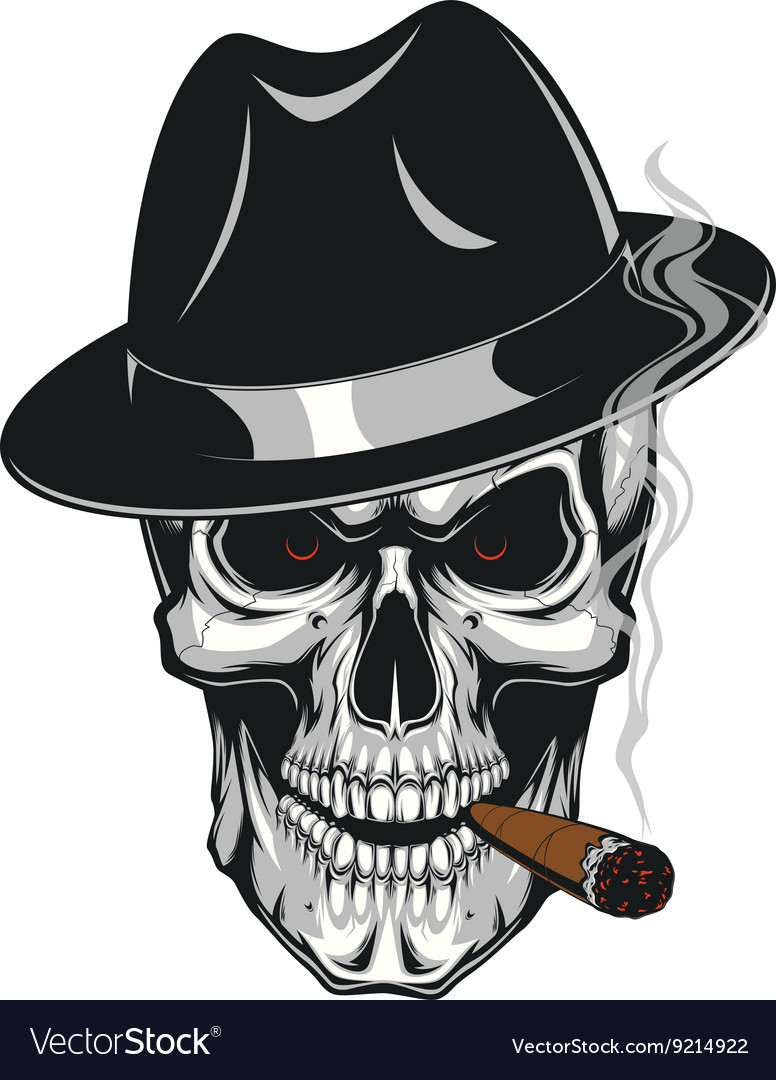 Evil skull with cigar vector image