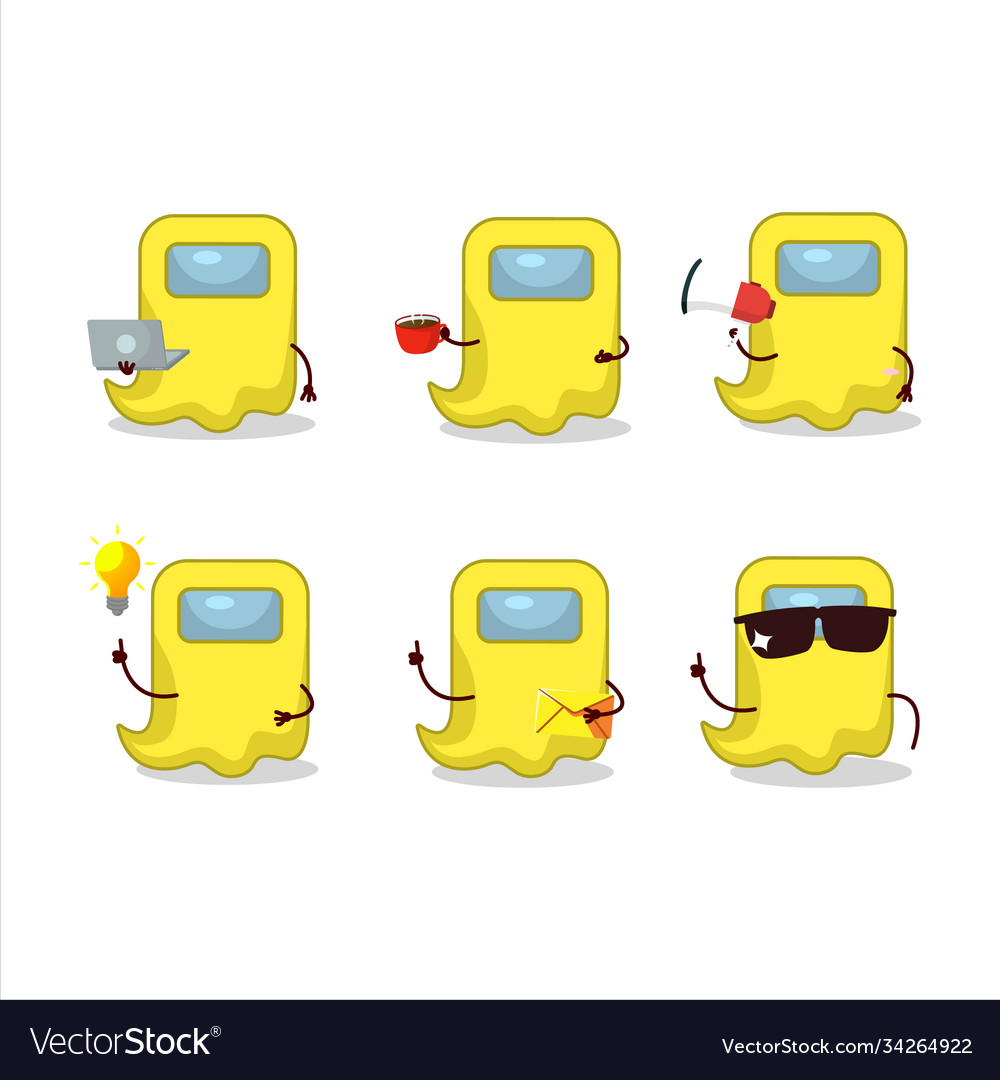 Ghost Among Us Yellow Cartoon Character With Vector Image