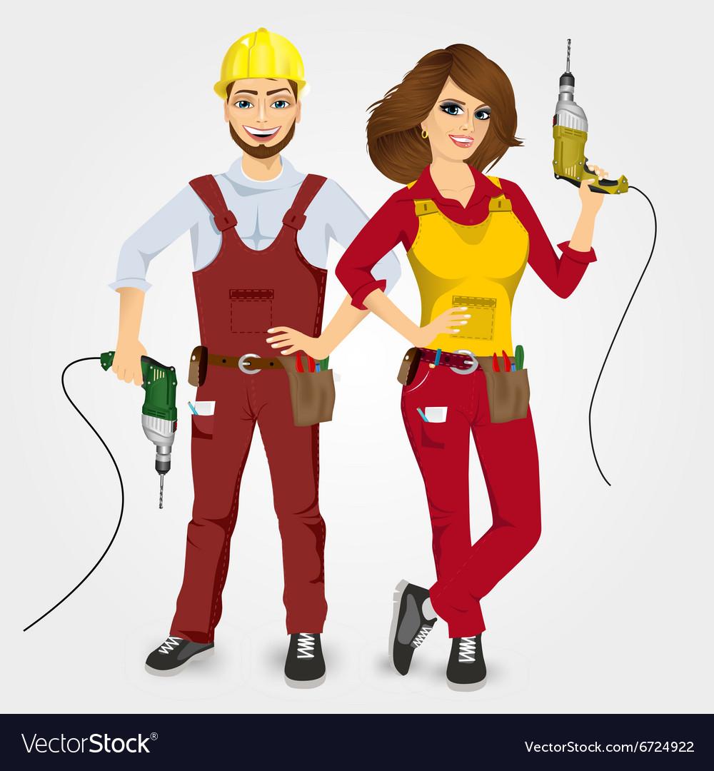 Handyman and handywoman holding drills