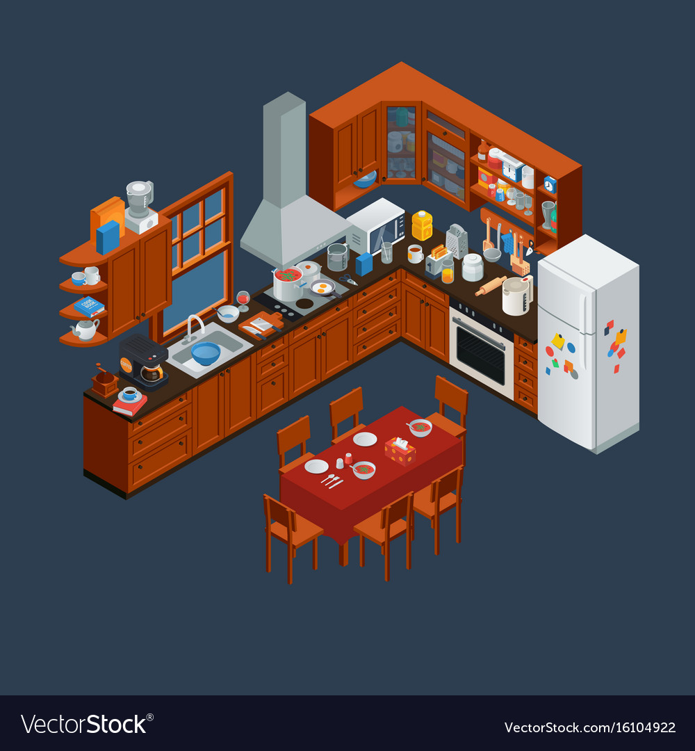 Isometric wooden kitchen interior and utensils