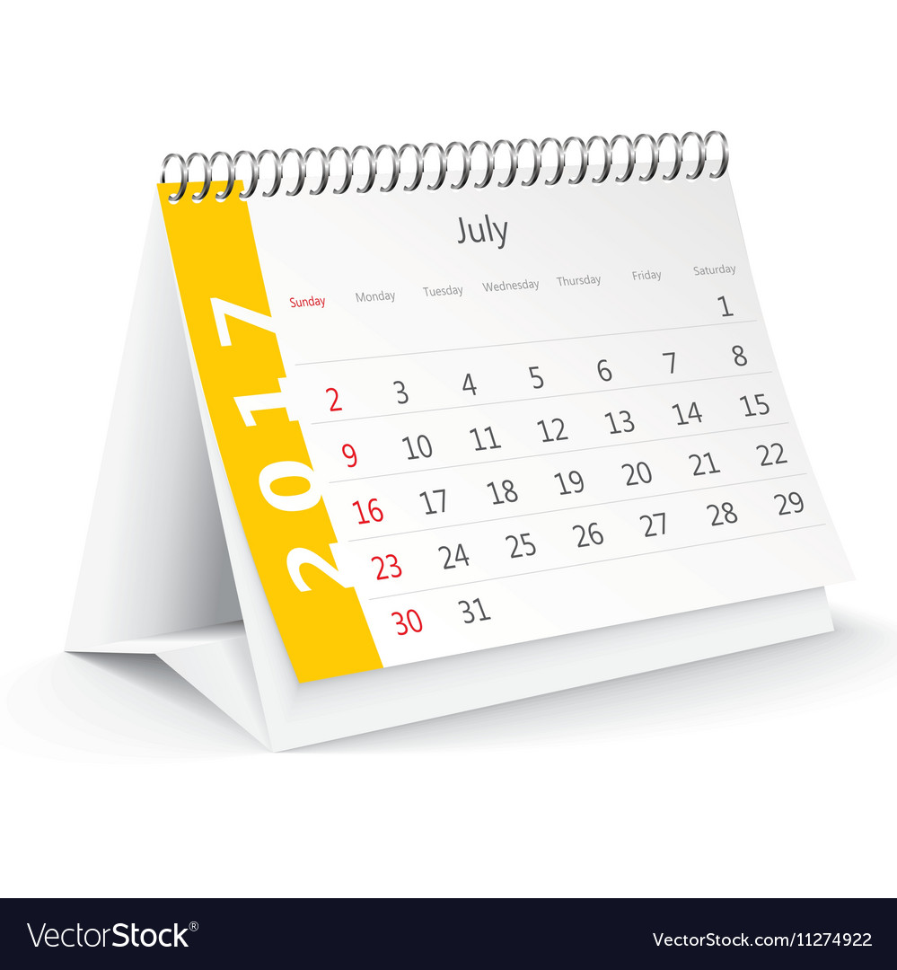 July 2017 desk calendar