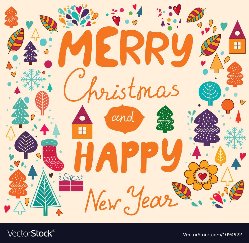 Merry Xmas Happy New Year vector image