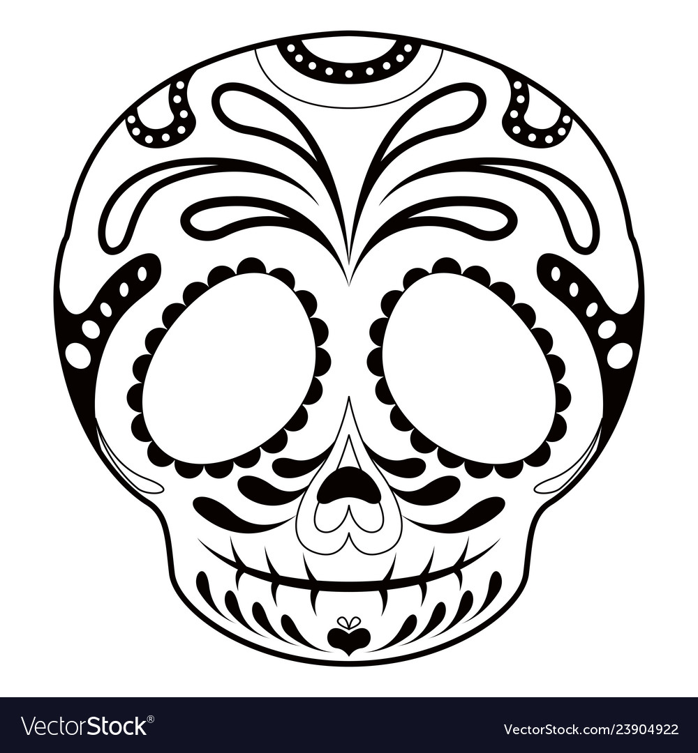 Outline Of A Hy Mexican Skull Cartoon Vector Image Jpg 1000x1080 Mask Template Candy