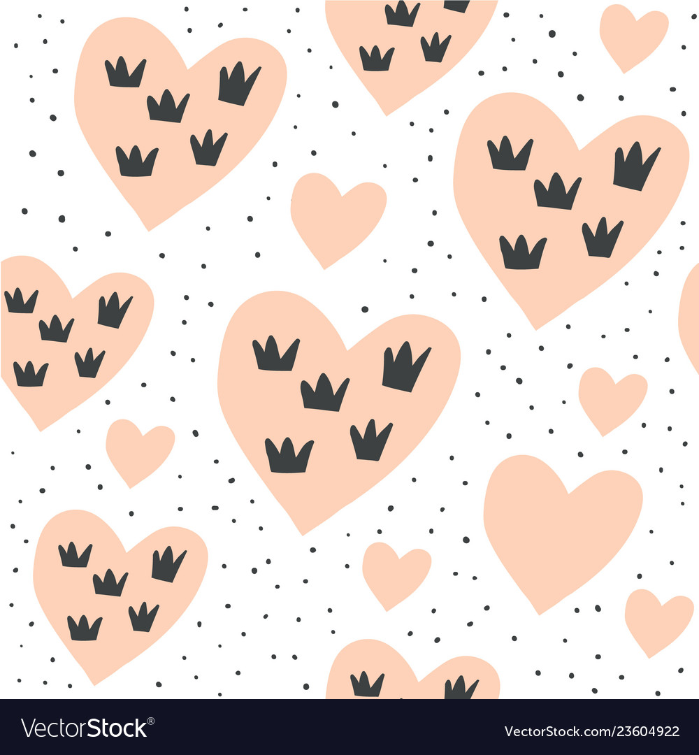 Seamless pattern with hearts and crowns on white