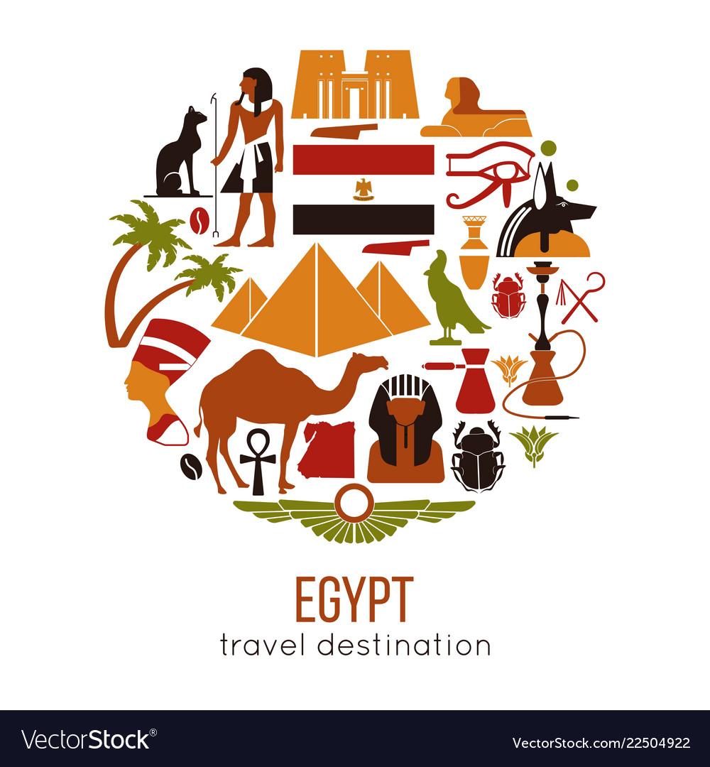 Set egypt symbols and landmarks flat