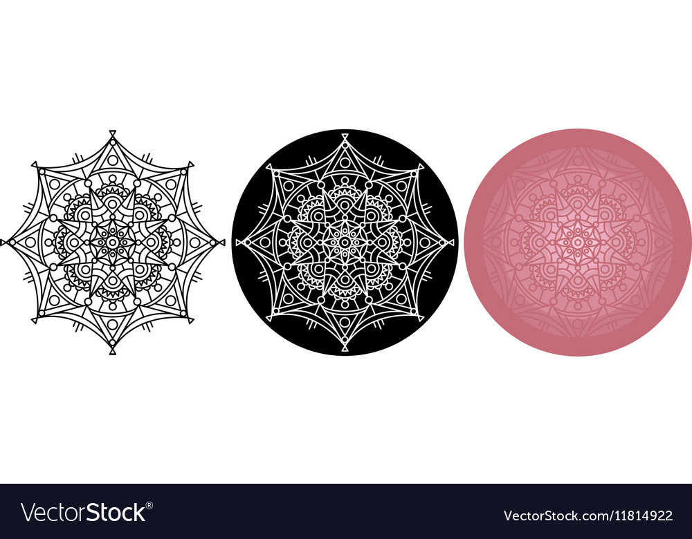 Set of Mandala for coloring book Black white