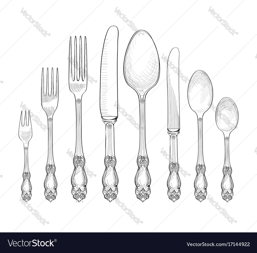 Table setting fork knife spoon plate sketch set Vector Image