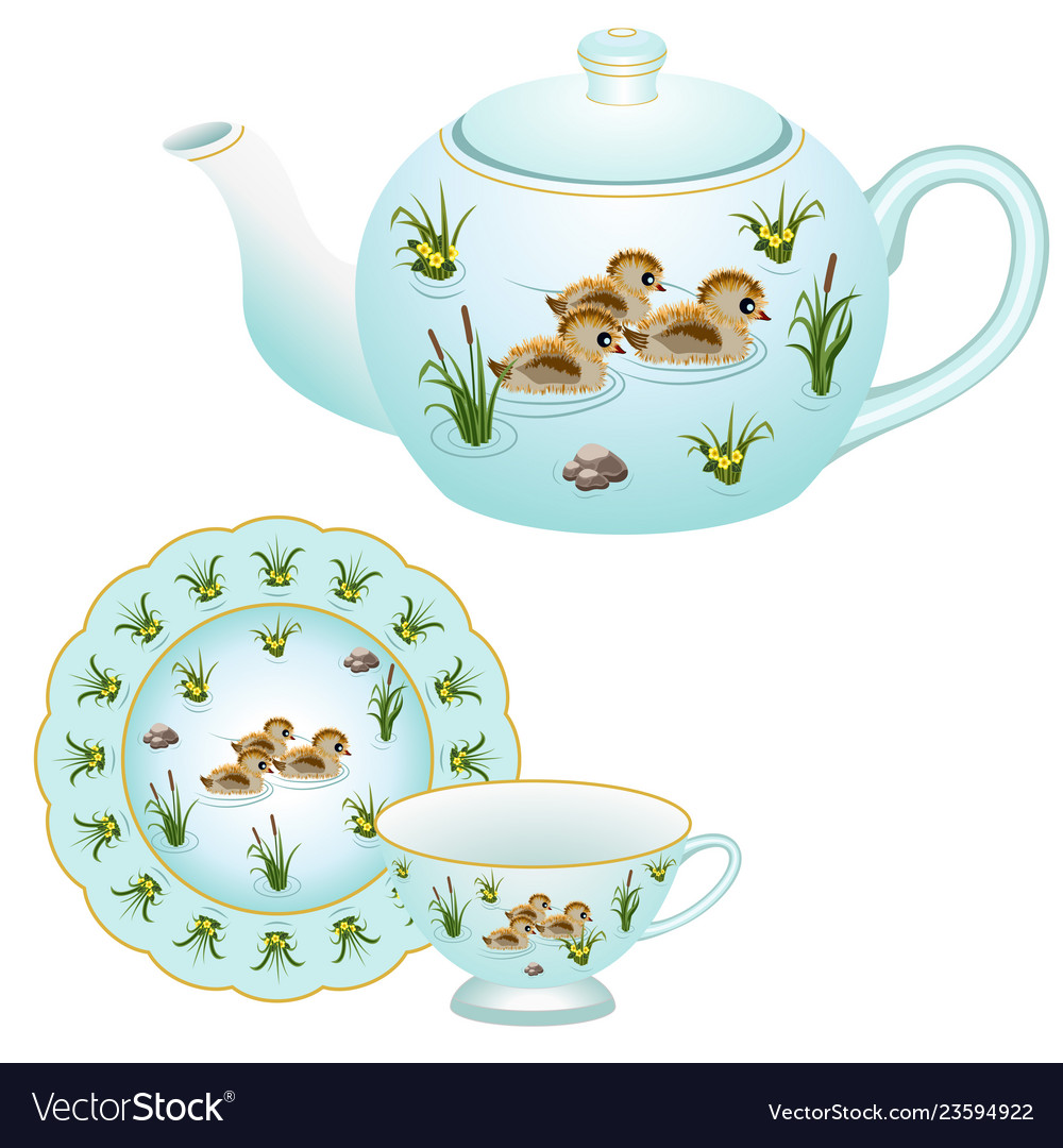 Teapot Tea Cup And Plate Vector Image