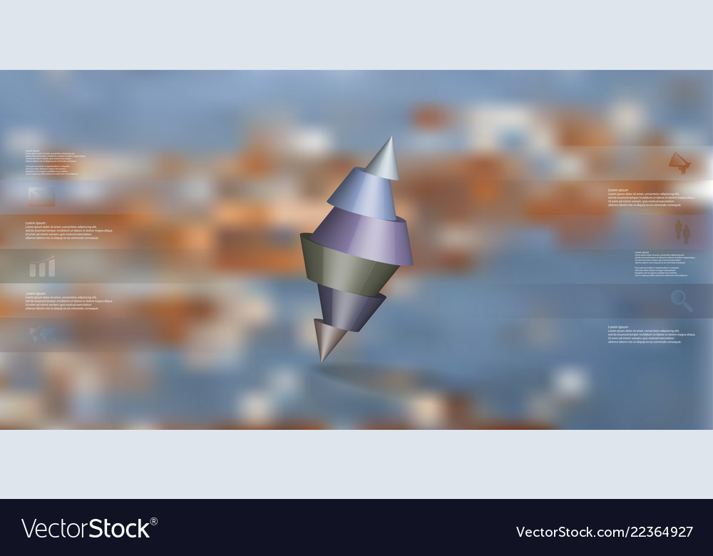 3d infographic template with two spiked cone