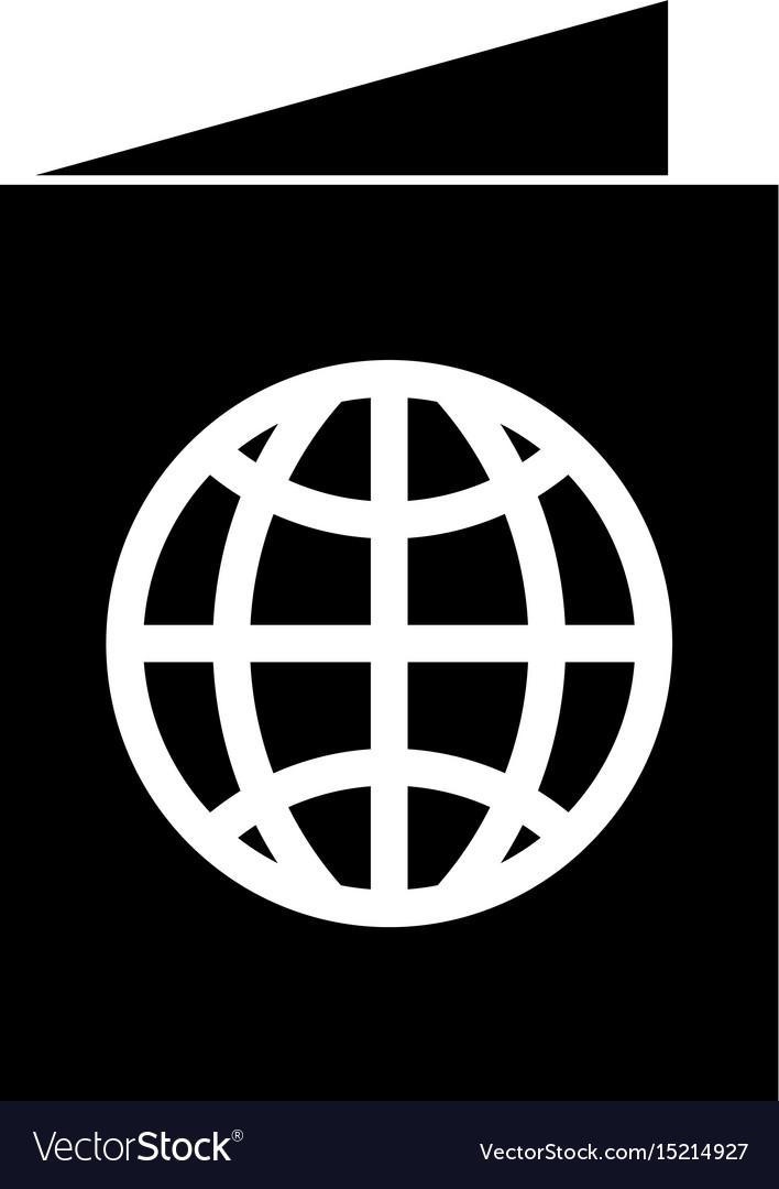 Black icon passport cartoon