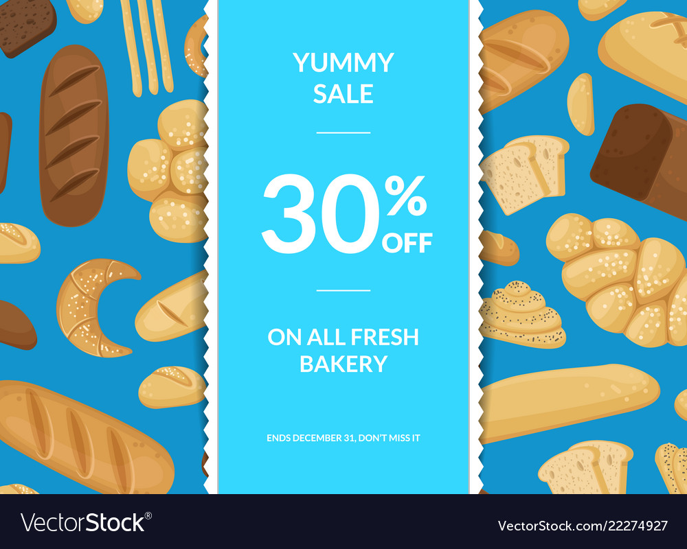Cartoon bakery elements sale poster