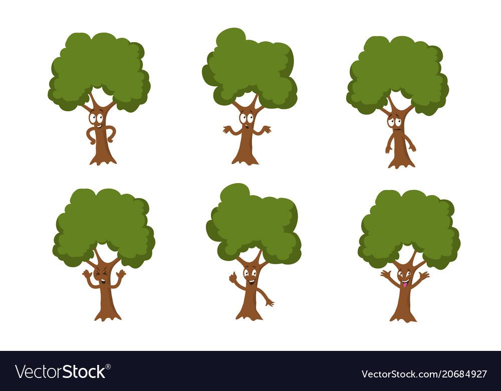 Cartoon funny green tree characters
