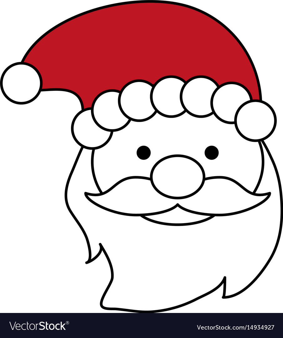 Color silhouette image of front face santa claus Vector Image