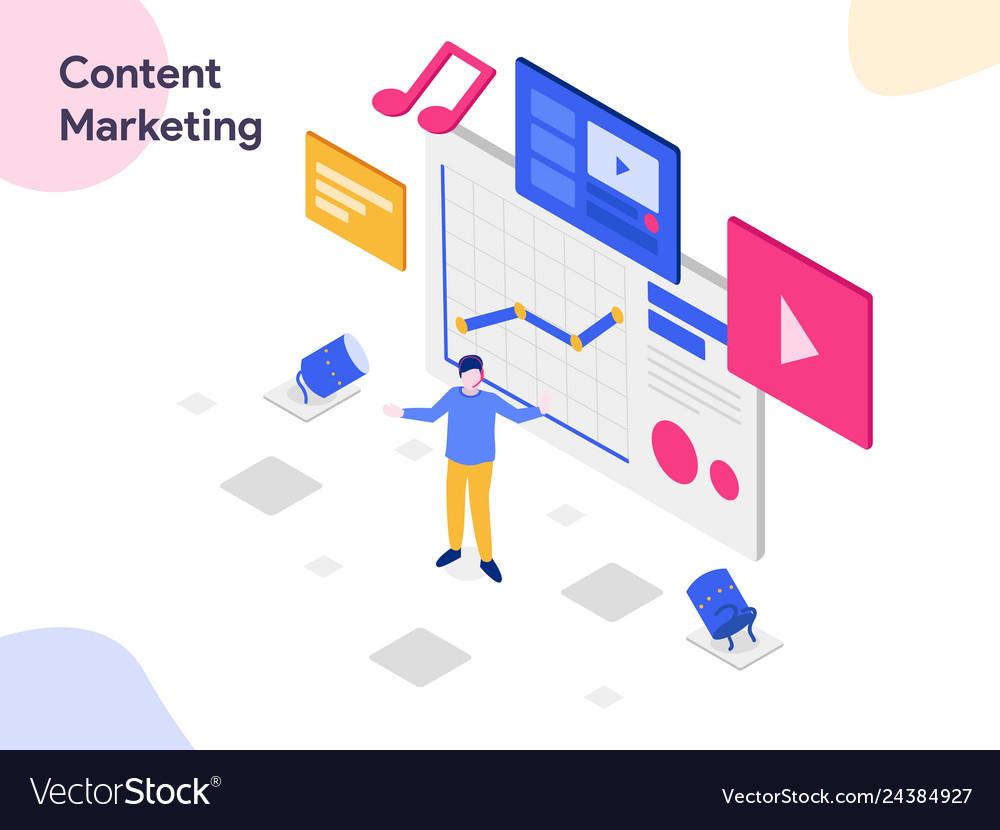 Content marketing isometric modern flat design