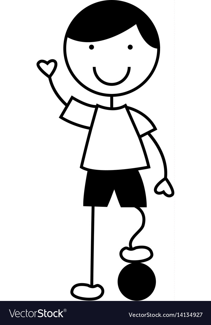 Cute little boy with soccer ball character vector image