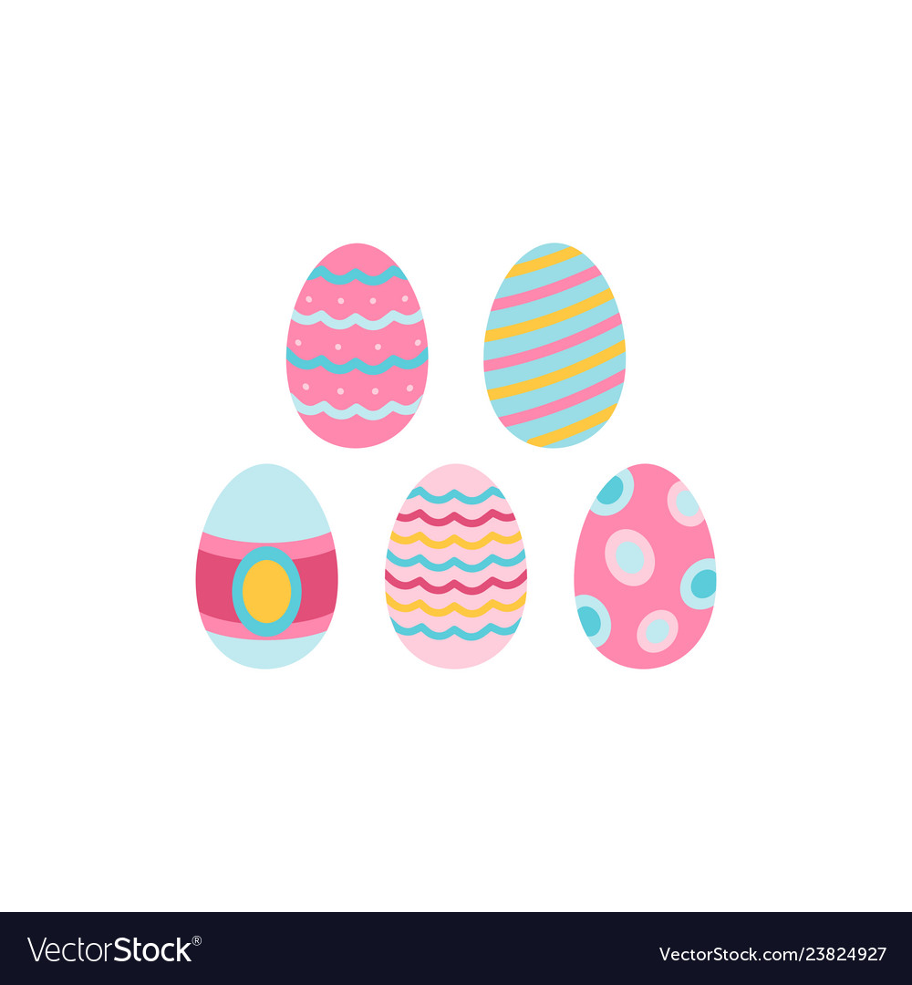 Egg icons with ornament for easter holidays