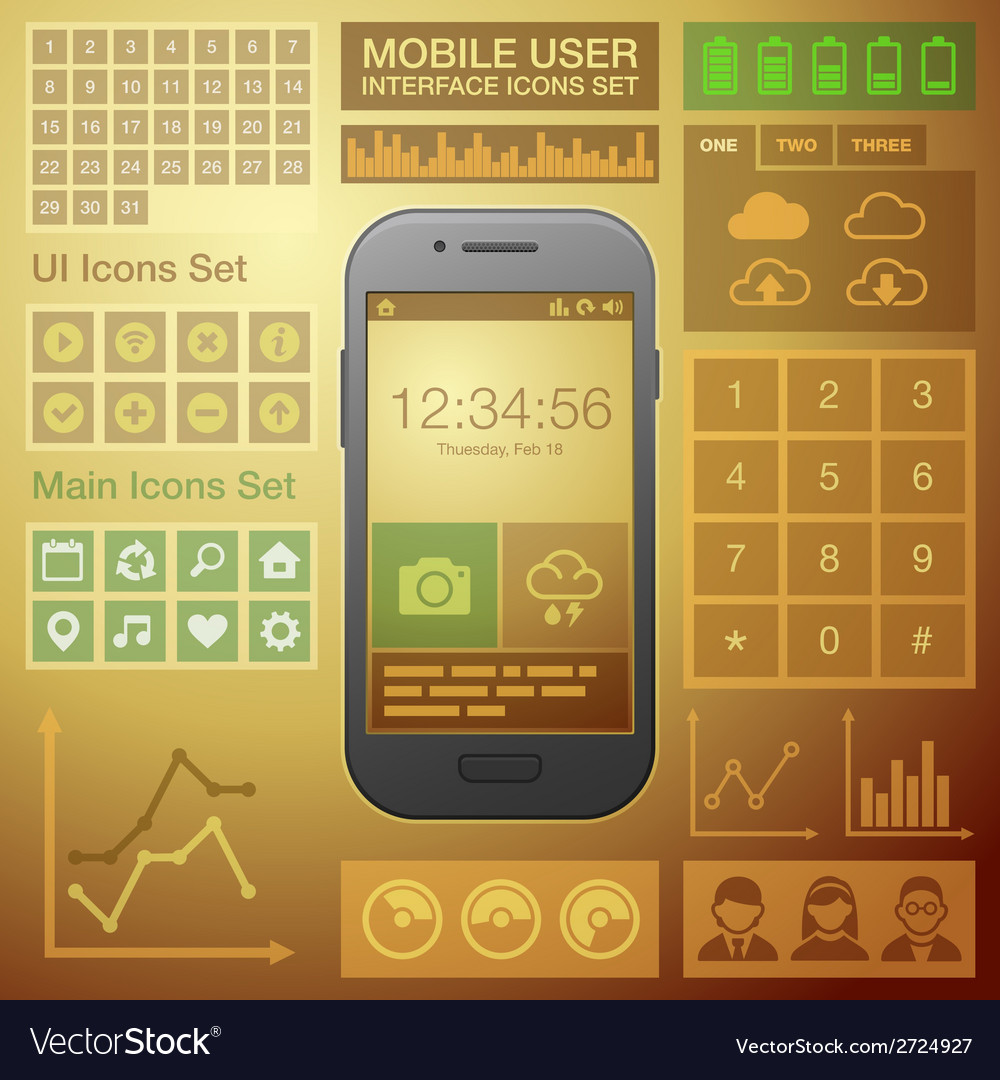 Flat Mobile UI User Interface Design Elements Kit vector image