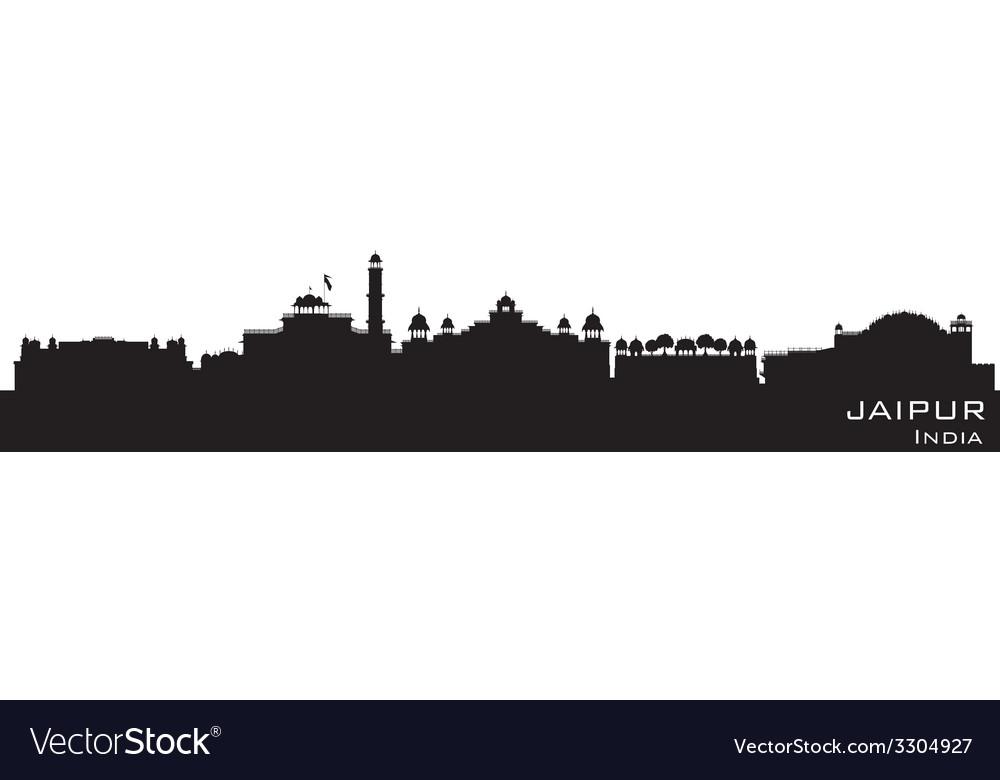 Jaipur India skyline Detailed silhouette