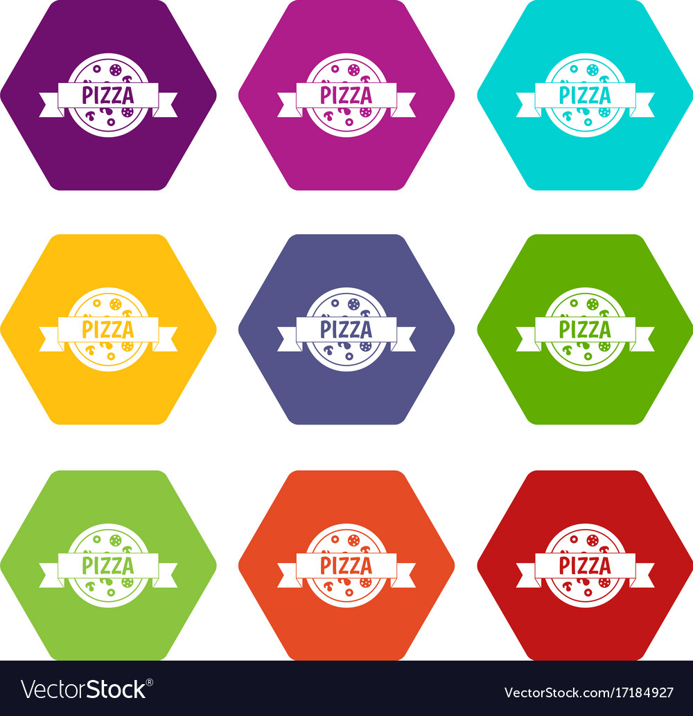 Pizza label with ribbon icon set color hexahedron