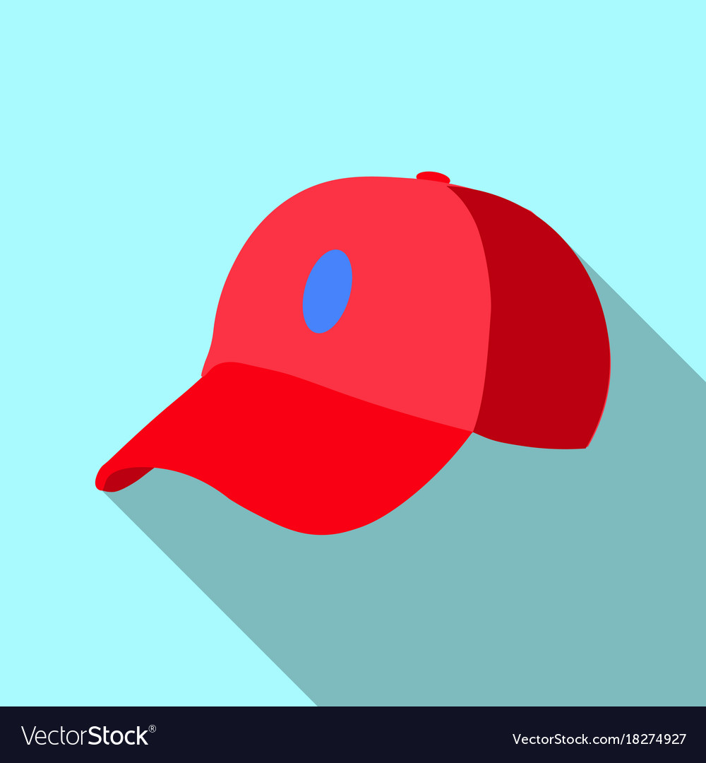 Red baseball cap icon flat of red