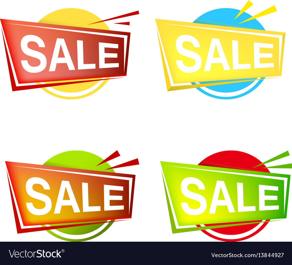 Set of colorfull sale banner and emblem icons