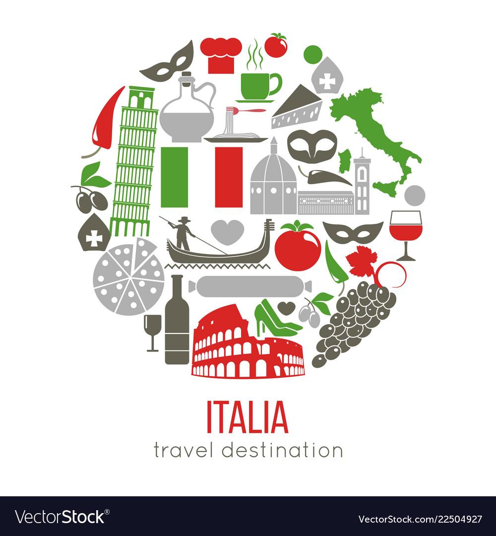 Set of rome italy symbols italian