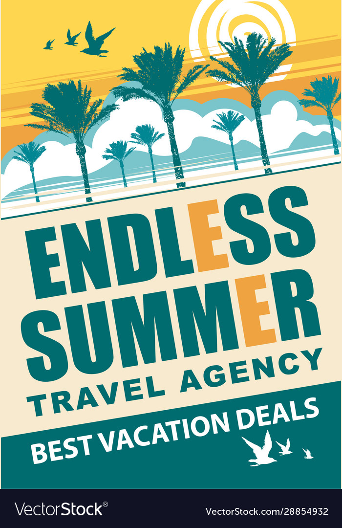Banner for travel agency with words endless summer