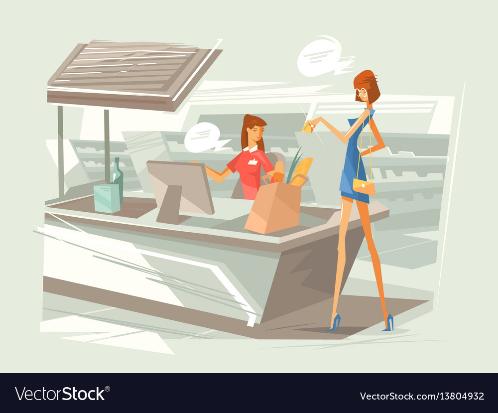 Cashier in supermarket at workplace vector image