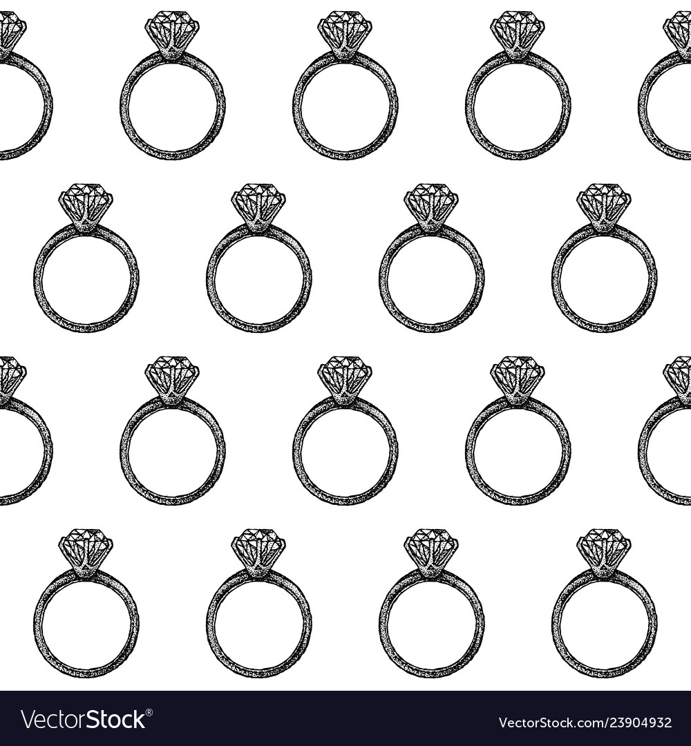 Dotwork diamond ring seamless pattern