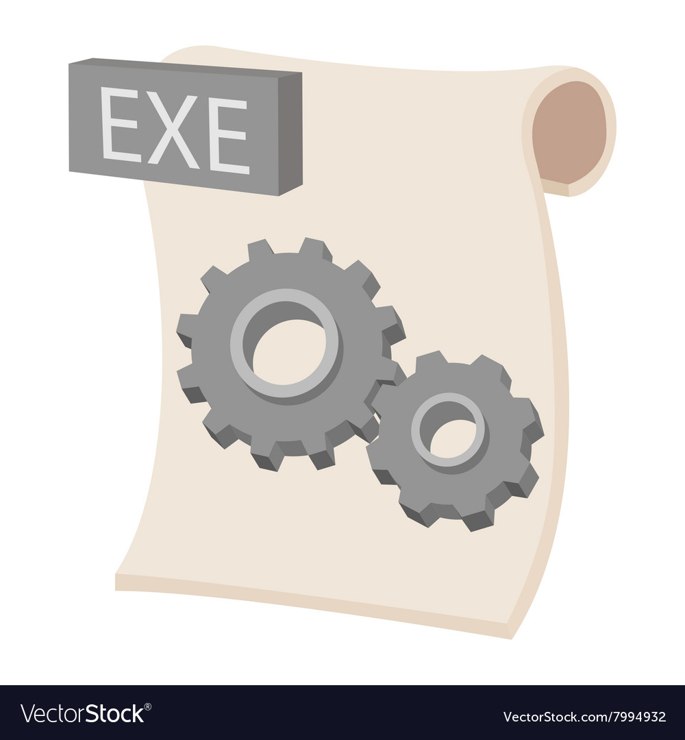 EXE extension text file icon cartoon style vector image