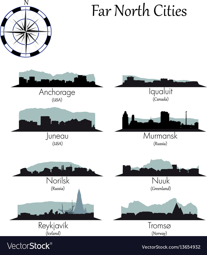 Far north cities collection vector image