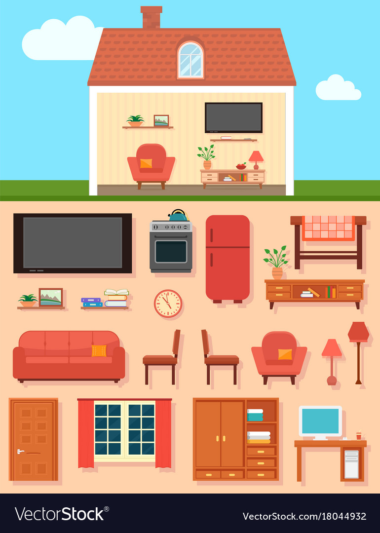 Furniture set with home room interior