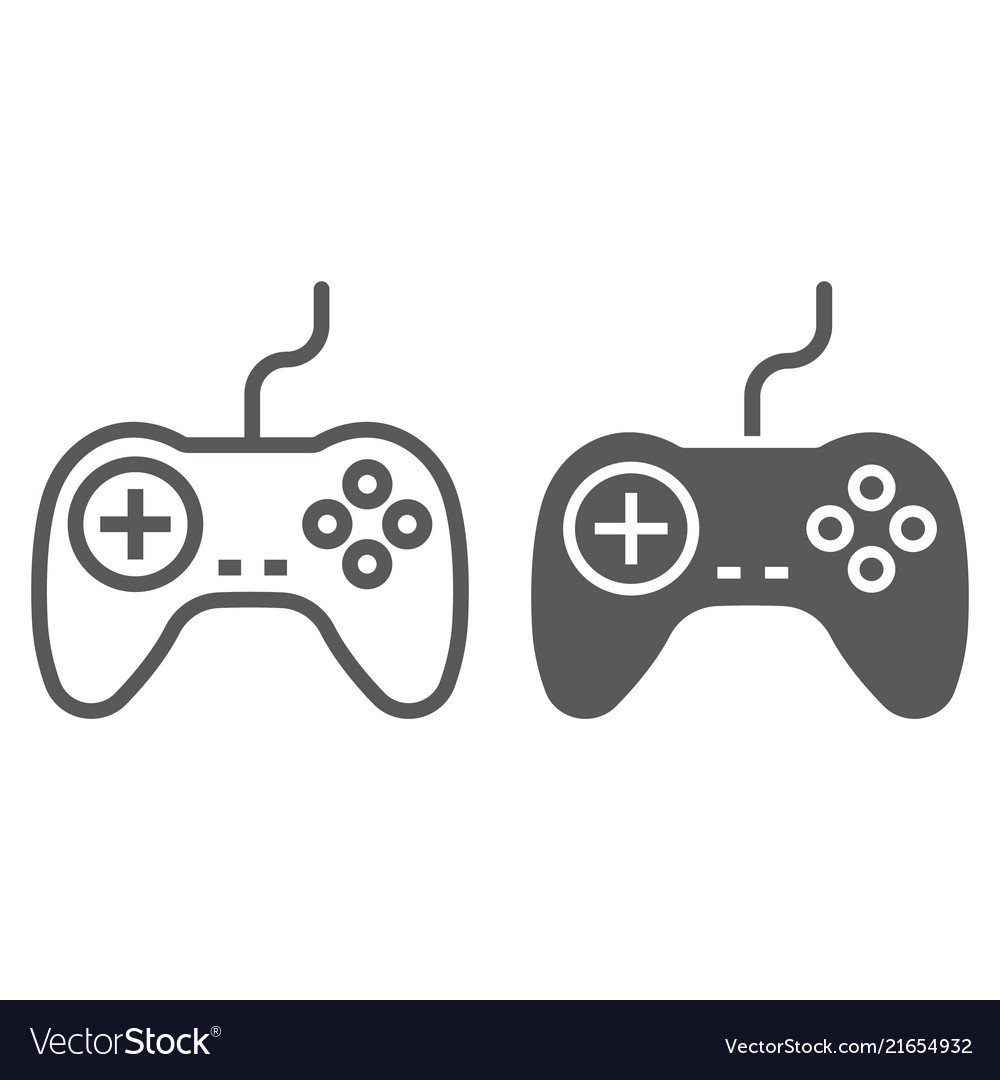 Gamepad line and glyph icon electronic