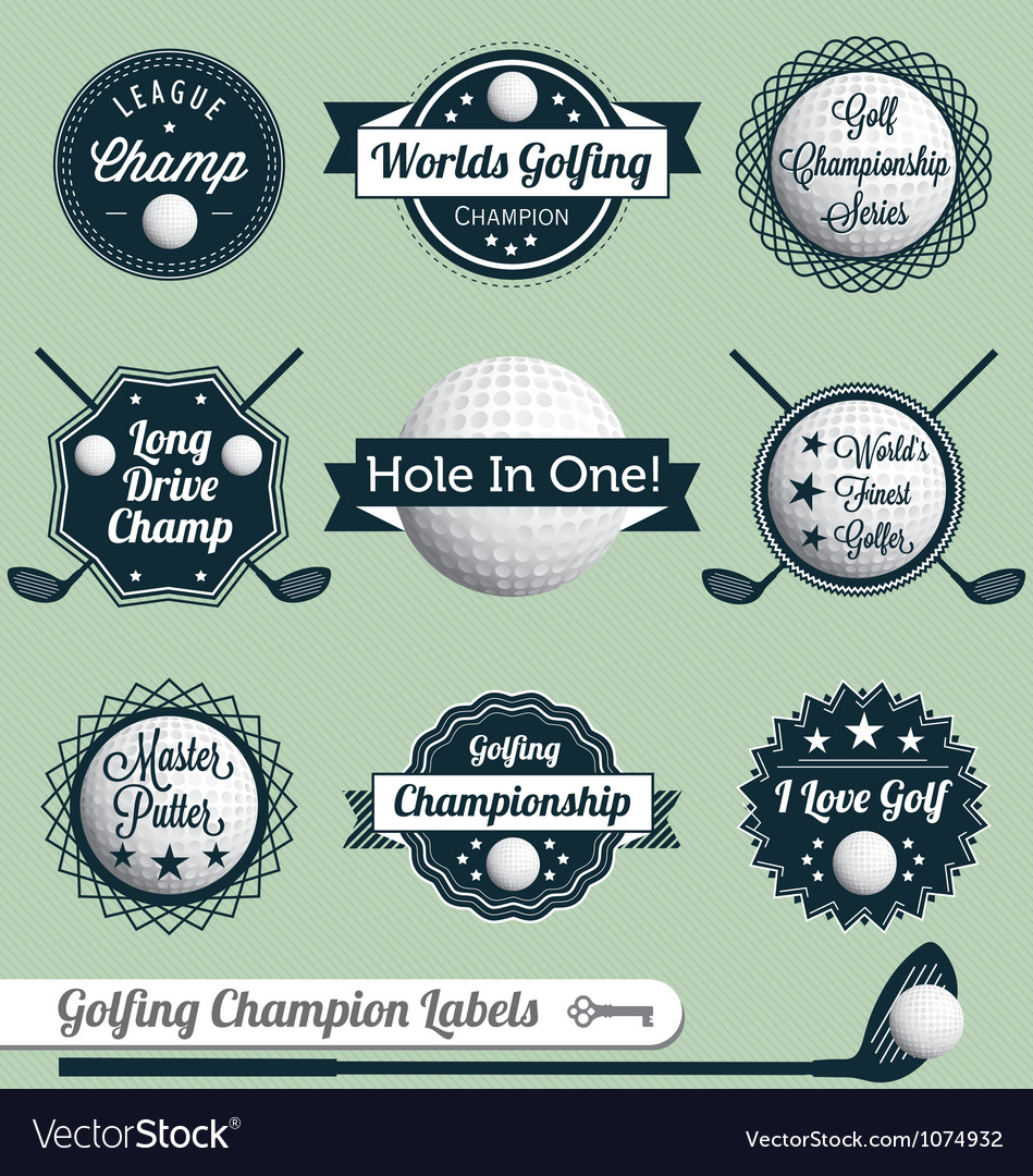 Golfing Champion Labels and Icons vector image