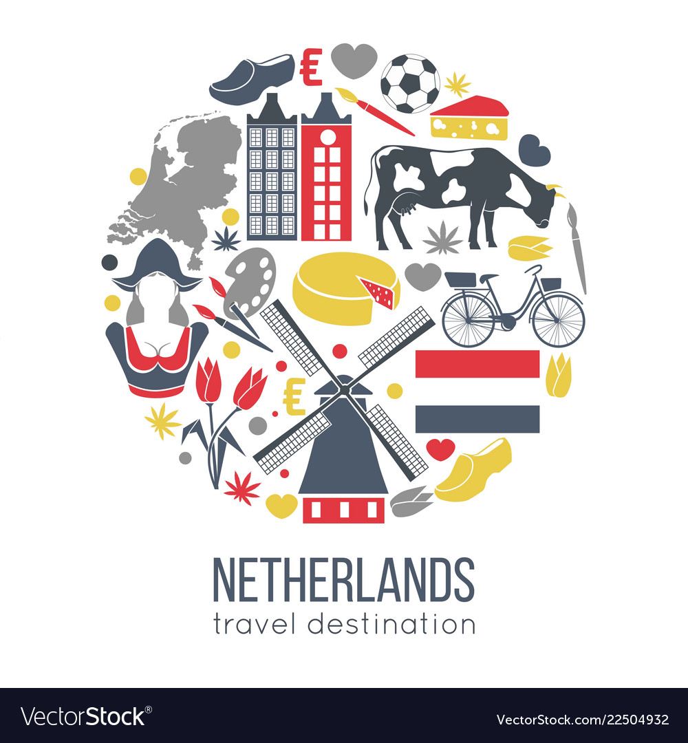 Netherlands travelling sketch for tourists of