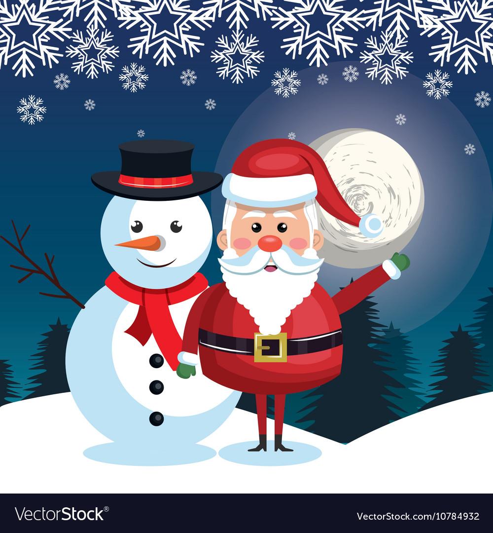 Santa and snowman landscape snow moon design vector image