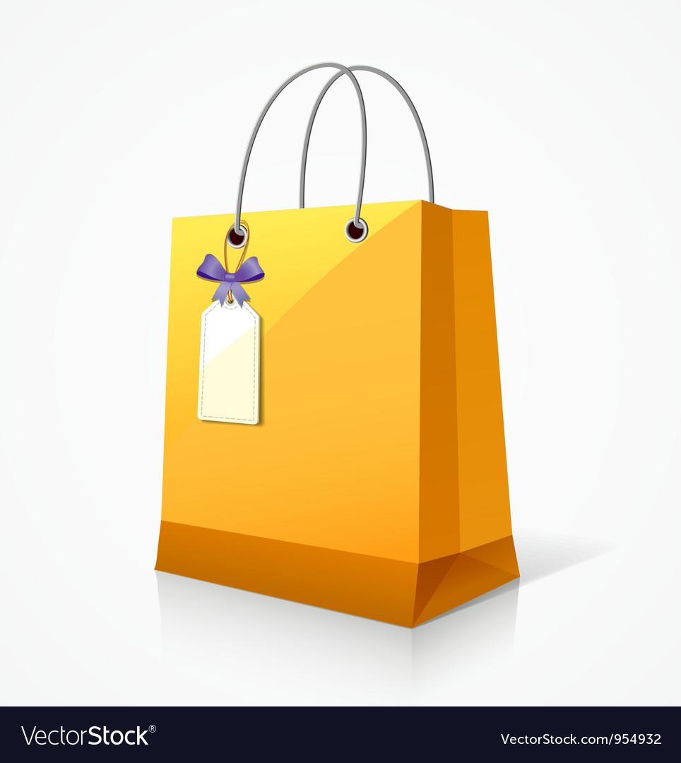 Shopping yellow paper bag vector image