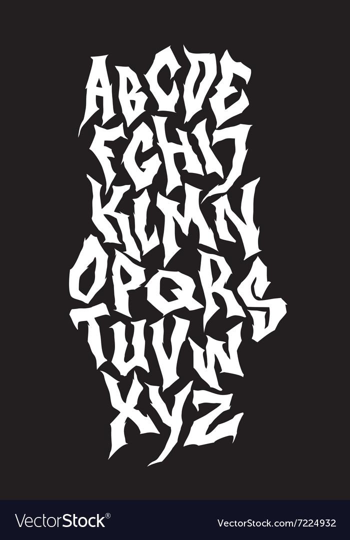 Spooky hand lettering font alphabet