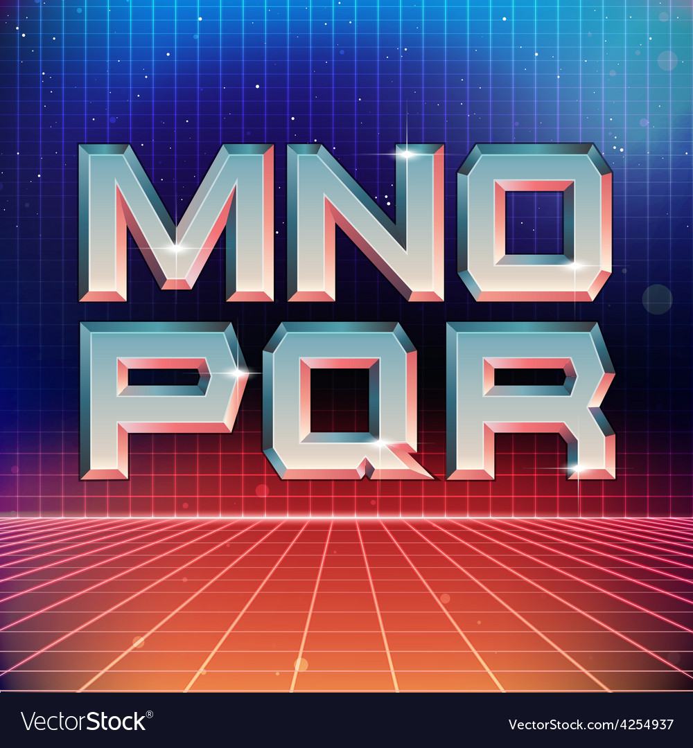 80s Retro Futuristic Font from M to R vector image