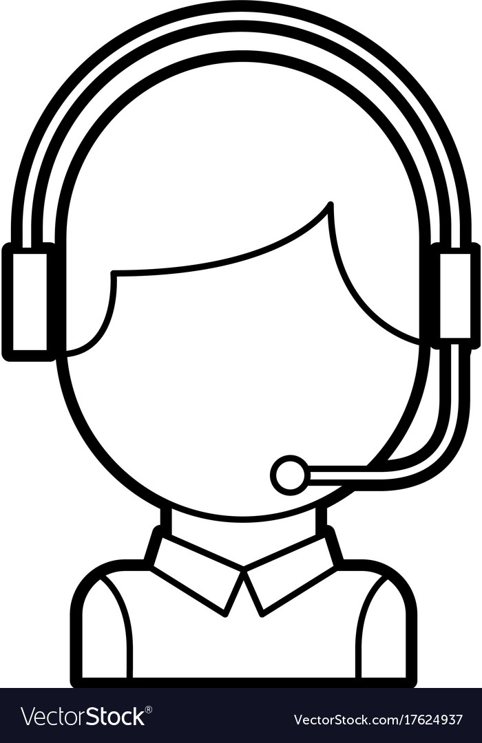Call Center Operator With Phone Headset Royalty Free Vector