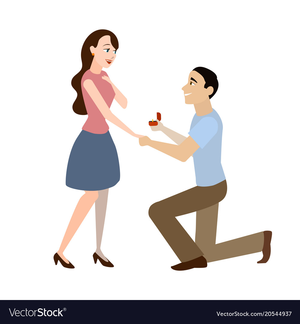 Cartoon offer of marriage man and woman vector image