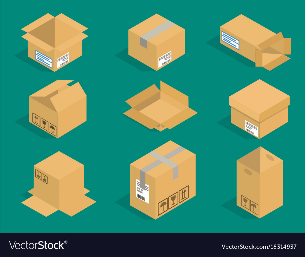 483081db26c Different box isometric icons isolated pack Vector Image