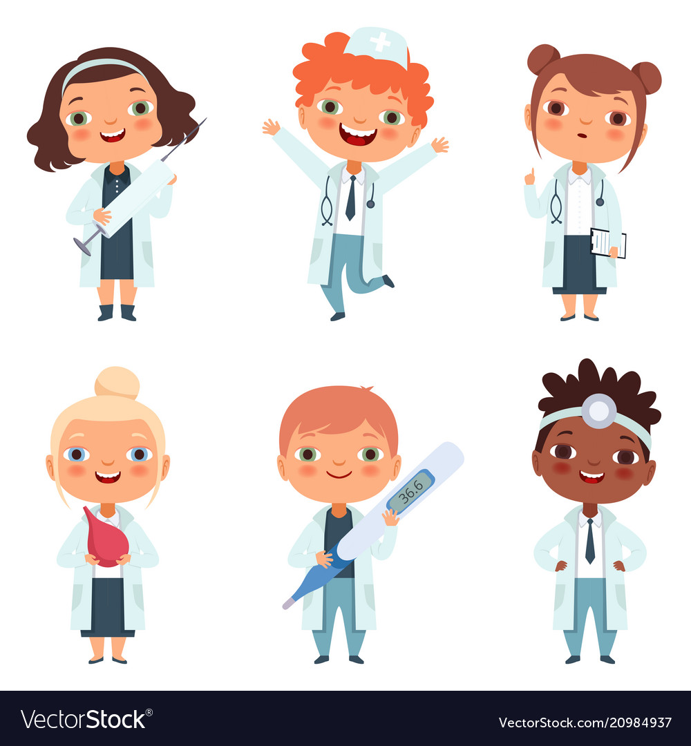 Doctor profession childrens in different poses vector image