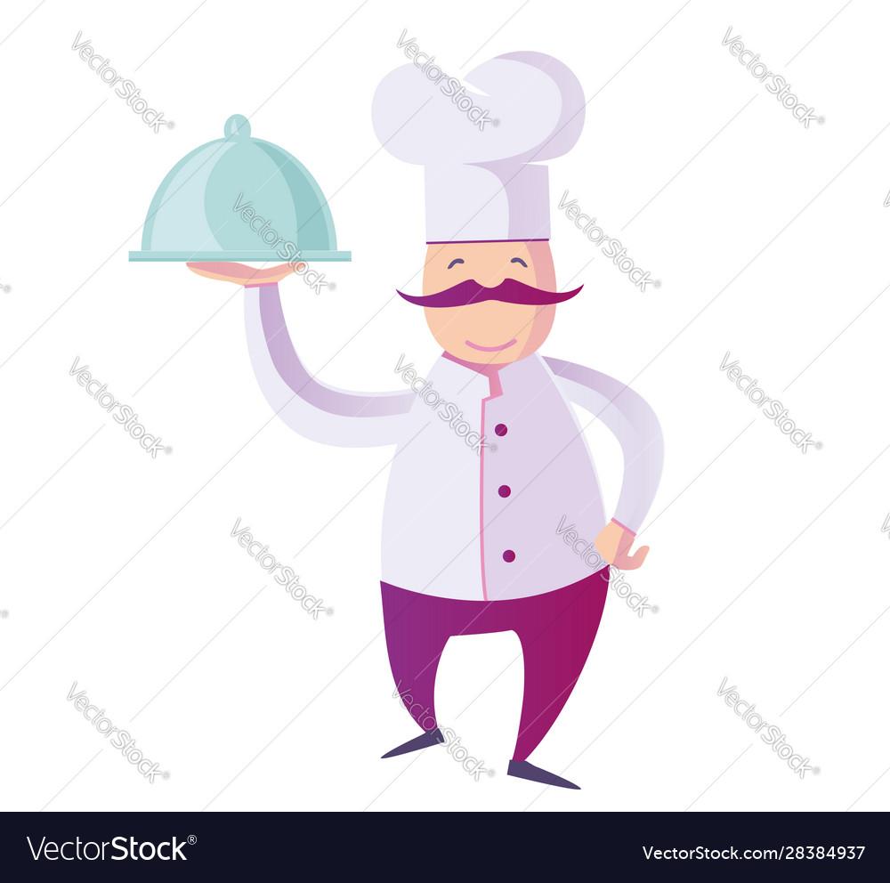 Flat a funny italian chef presenting his