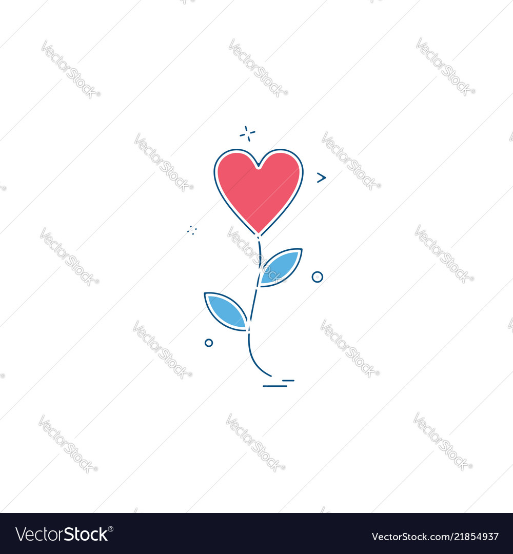 Heart flower icon design
